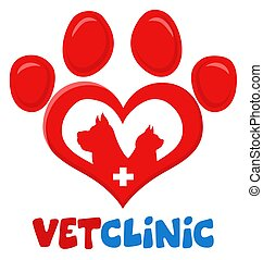 design., gato, veterinário, pata, silueta, logotipo, impressão, apartamento, cão, crucifixos, amor