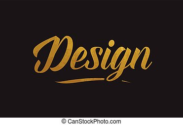 Design gold word text illustration typography