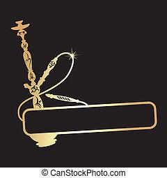 design golden hookah vector