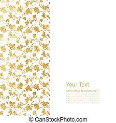 design, gyllene, florett, blomma