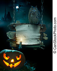 design, halloween, bakgrund, parti