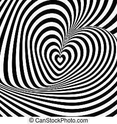 Design heart swirl rotation illusion background. Abstract ...