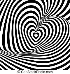 Design heart swirl rotation illusion background. Abstract striped distortion backdrop. Vector-art illustration