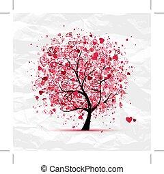 design, hjärtan, träd, din, valentinbrev
