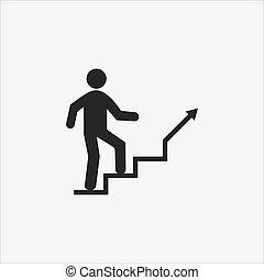 design., icon., plano, escaleras, ilustración, vector, escalera, carrera