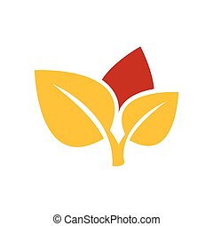 design Icons of leaf yellow and red color