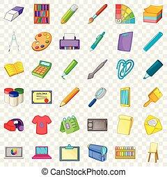 Design icons set, cartoon style