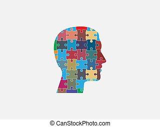 design., illustration, tête plate, icon., vecteur, humain, puzzle