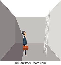 design., illustrazione, scala, appartamento, wall., legno, completo, buco, vettore, uomo, affari, stading