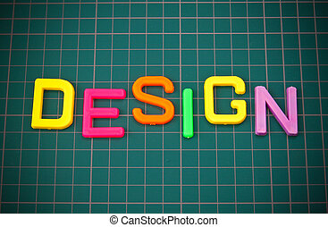 Design in colorful toy letters oncutting mate