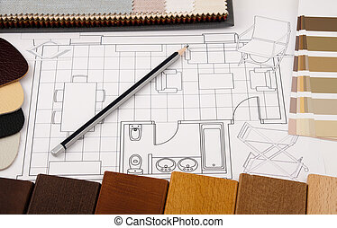 Design Interior - Worktable interior design with drawing and...