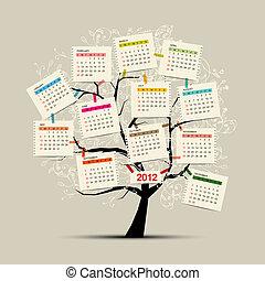 design, kalender, träd, din, 2012