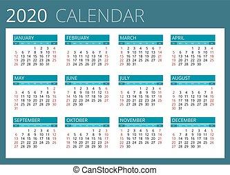 design., kalender, vektor, startar, 2020., enkel, vecka, sunday.