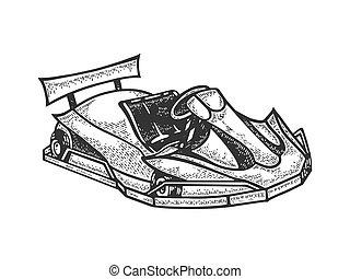design., kart, main, sport, t-shirt, croquis, illustration., blanc, voiture, vecteur, aller, image., noir, habillement, dessiné, impression, planche, imitation., égratignure, gravure