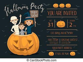Design, Kinder, Halloween, Party, Einladung