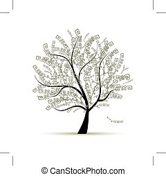 design, konst, träd, din