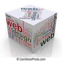 design', kubus, 'web, markeringen, 3d