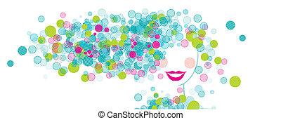 design, kvinna, silhuett, din, ansikte