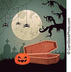 design, kyrkogård, halloween, bakgrund, över