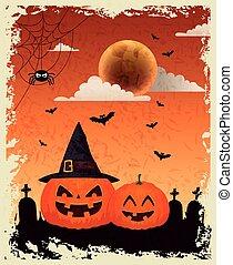 design, kyrkogård, halloween, bakgrund, pumpa, över