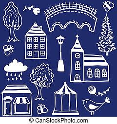 design, liten, elementara, stad