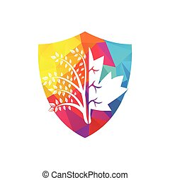 design., logo, arbre, érable, créatif, pousse feuilles