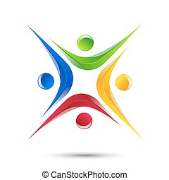 Design logo element Abstract people icon