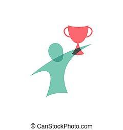 design., logo, icon., zwycięzca, filiżanka