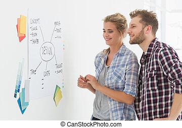 design, mannschaft, anschauen, whiteboard