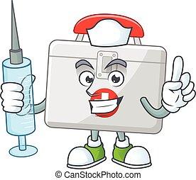 design, maskottchen, krankenschwester, spritze, hilfe, gebrauchend, satz, feundliches , stil, zuerst