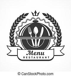 Design menu label on white