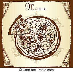 Design menu with pizza