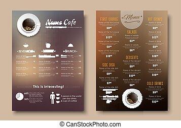 Design menus for a restaurant, cafe or coffeehouse A4.