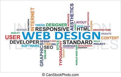 design, -, moln, ord, nät