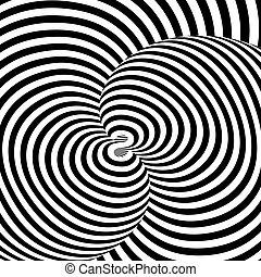 Design monochrome swirl movement illusion background. Abstract strip torsion backdrop. Vector-art illustration