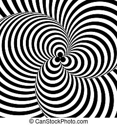 Design monochrome twirl circular movement illusion background