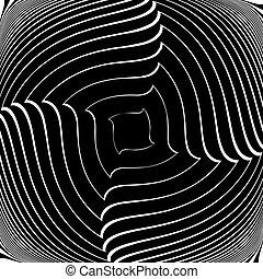 Design monochrome vortex movement illusion background....