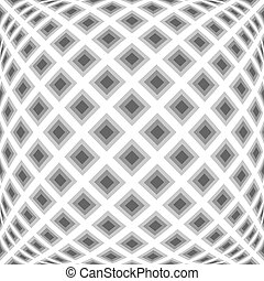 Design monochrome warped diamond pattern. Abstract convex textured background. Vector art. No gradient