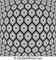 Design monochrome warped hexagon pattern. Abstract convex textured background. Vector art