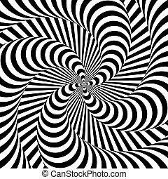 Design monochrome whirlpool motion illusion background. Abstract strip distortion backdrop. Vector-art illustration