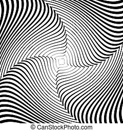 Design monochrome whirlpool movement illusion background. Abstract strip lines torsion backdrop. Vector-art illustration
