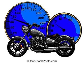 design, motorbike., vektor, karikatur, abbildung, kunst