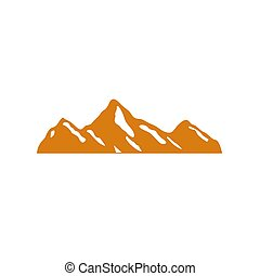 DESIGN MOUNTAIN ICON GOLD WITH SNOW, ON WHITE