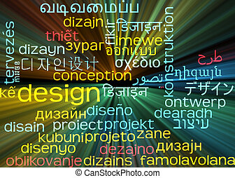 Design multilanguage wordcloud background concept glowing