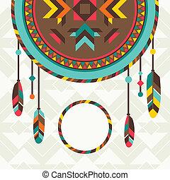design., navajo, étnico, fundo, dreamcatcher