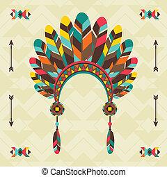 design., navajo, headband, fundo, étnico