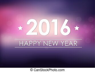 Design New Year banner (poster) with the text of 2016 on blurred pink background. Vector illustration
