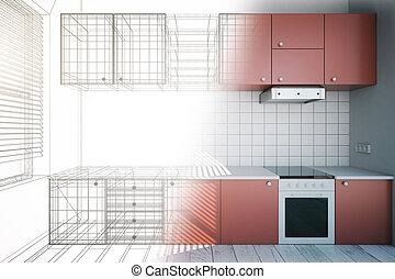design, oavslutat, röd, kök