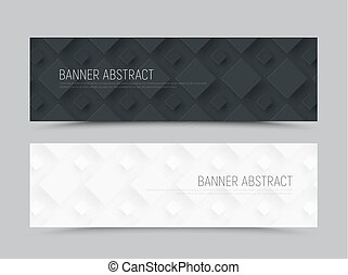 design of a  horizontal banner in a minimalist style with a rhombus of different sizes on the background