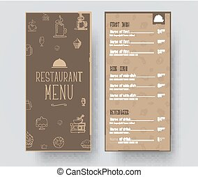 Design of a narrow menu for a restaurant or a cafe. Template in retro style